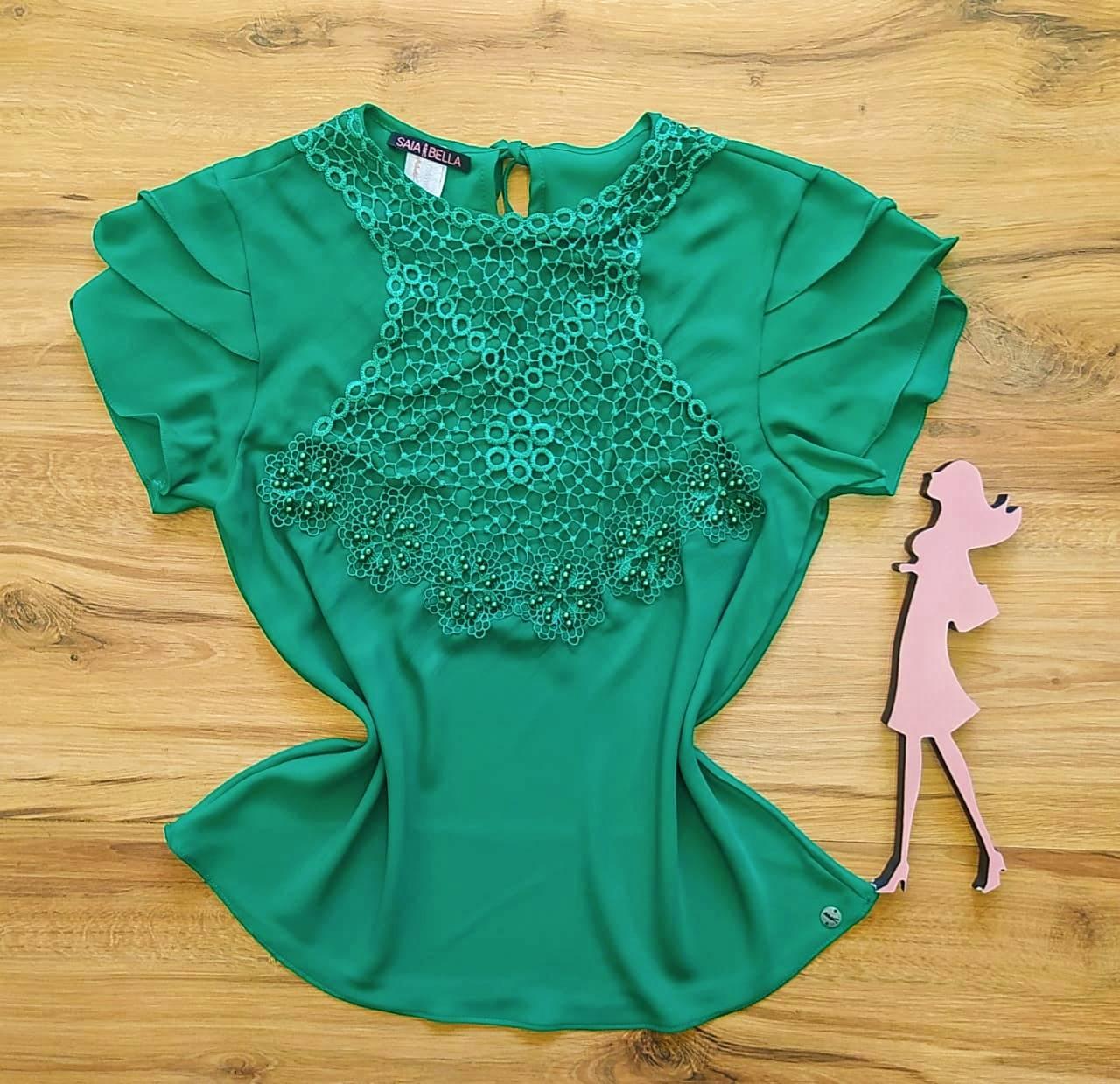Blusa Ligia de Renda Saia Bella - SB840703 - Verde Bandeira