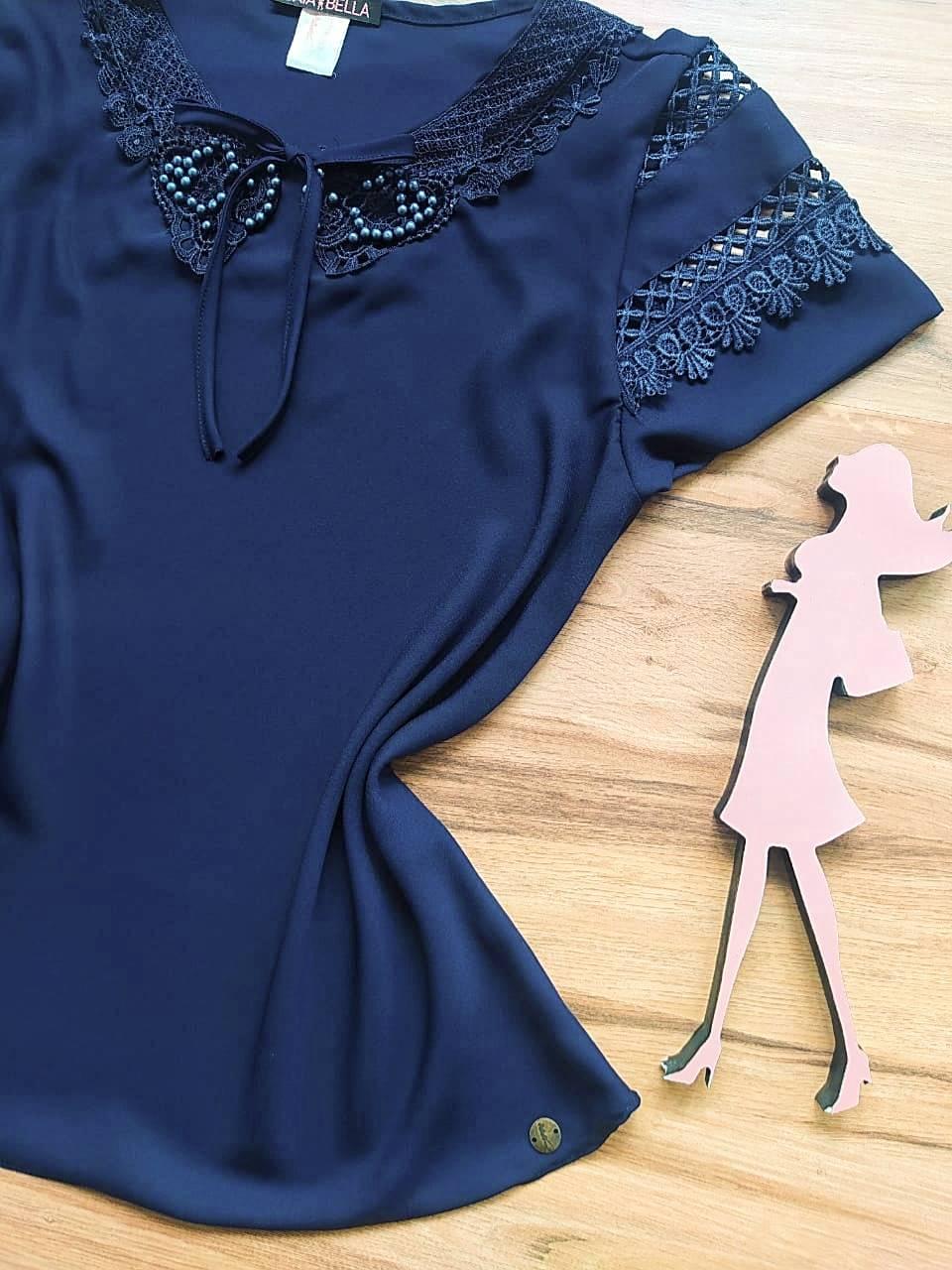 Blusa Louise de Renda Saia Bella - SB741020 Azul Marinho
