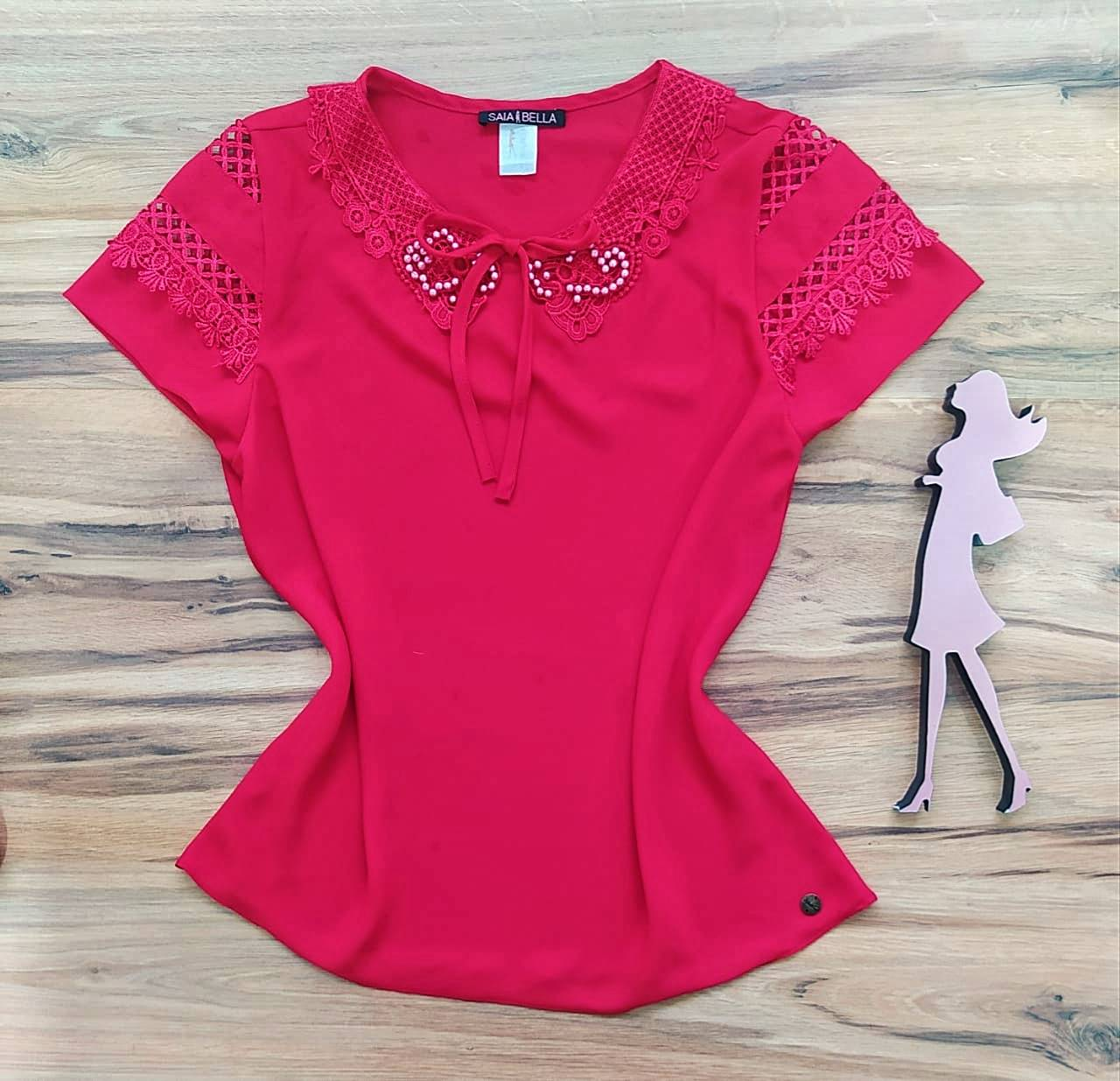Blusa Louise de Renda Saia Bella - SB741020 Vermelho