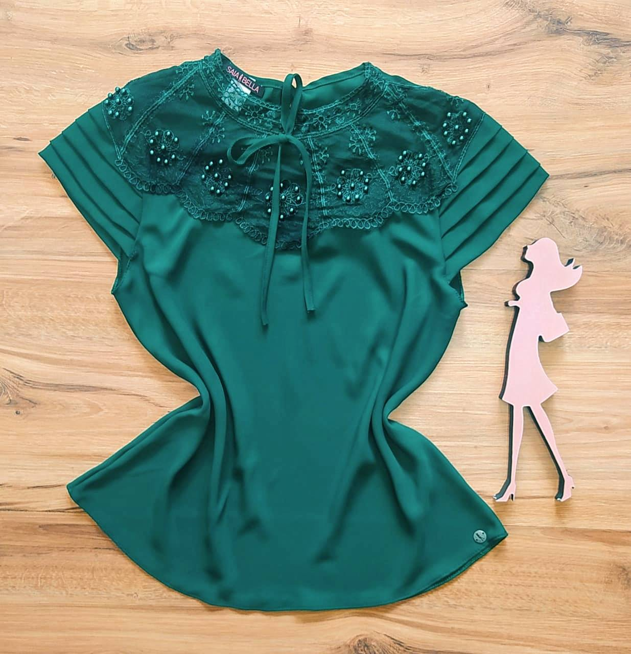 Blusa Luiza de Renda Saia Bella - SB840702 -  Verde