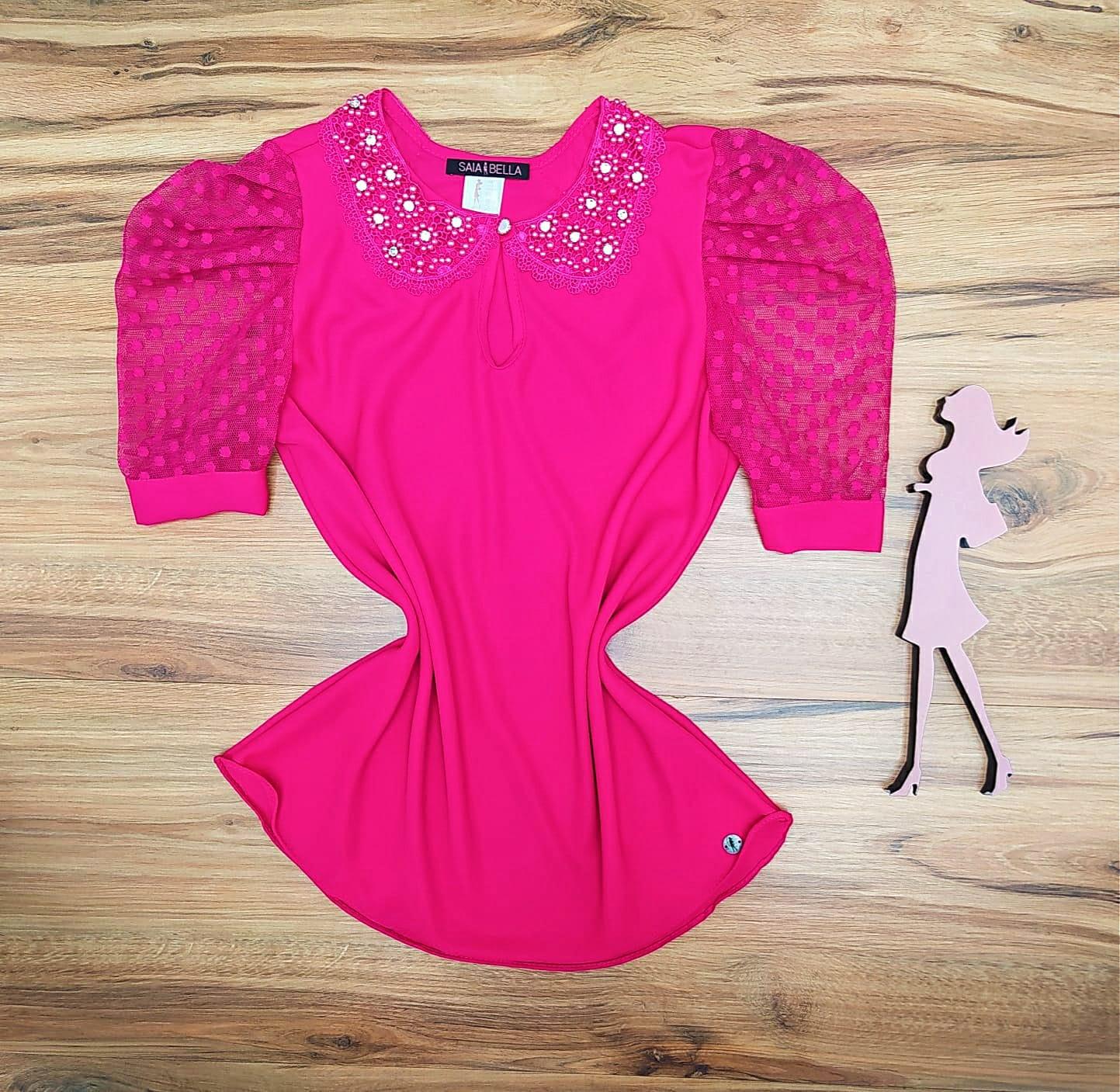 Blusa Madelyn de Renda Saia Bella - SB5136 - Pink