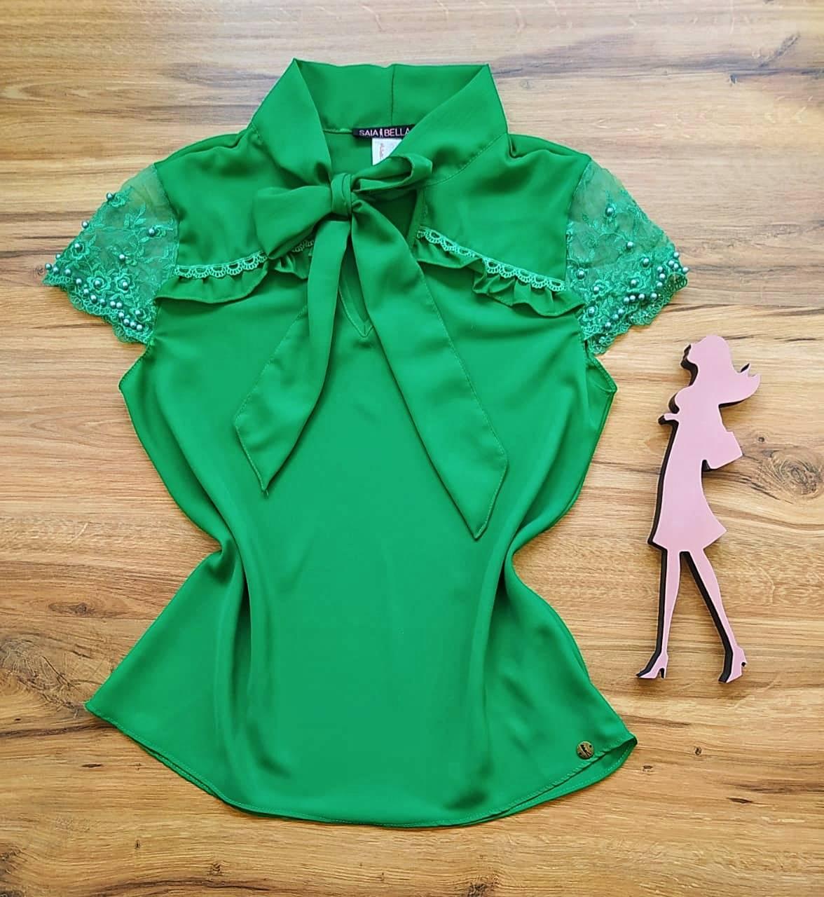 Blusa Megan de Renda Saia Bella - SB79907 Verde