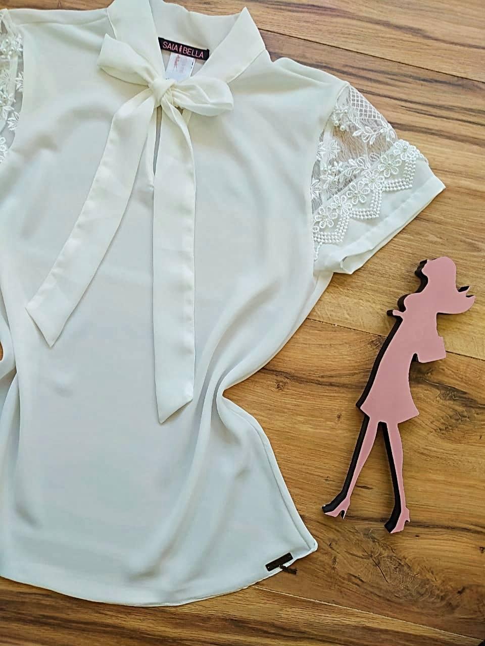 Blusa Melissa de Renda Saia Bella - SB3322 Branco