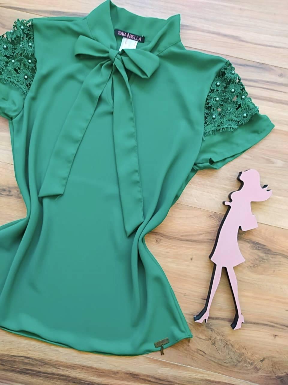Blusa Melissa de Renda Saia Bella - SB3322 Verde Bandeira