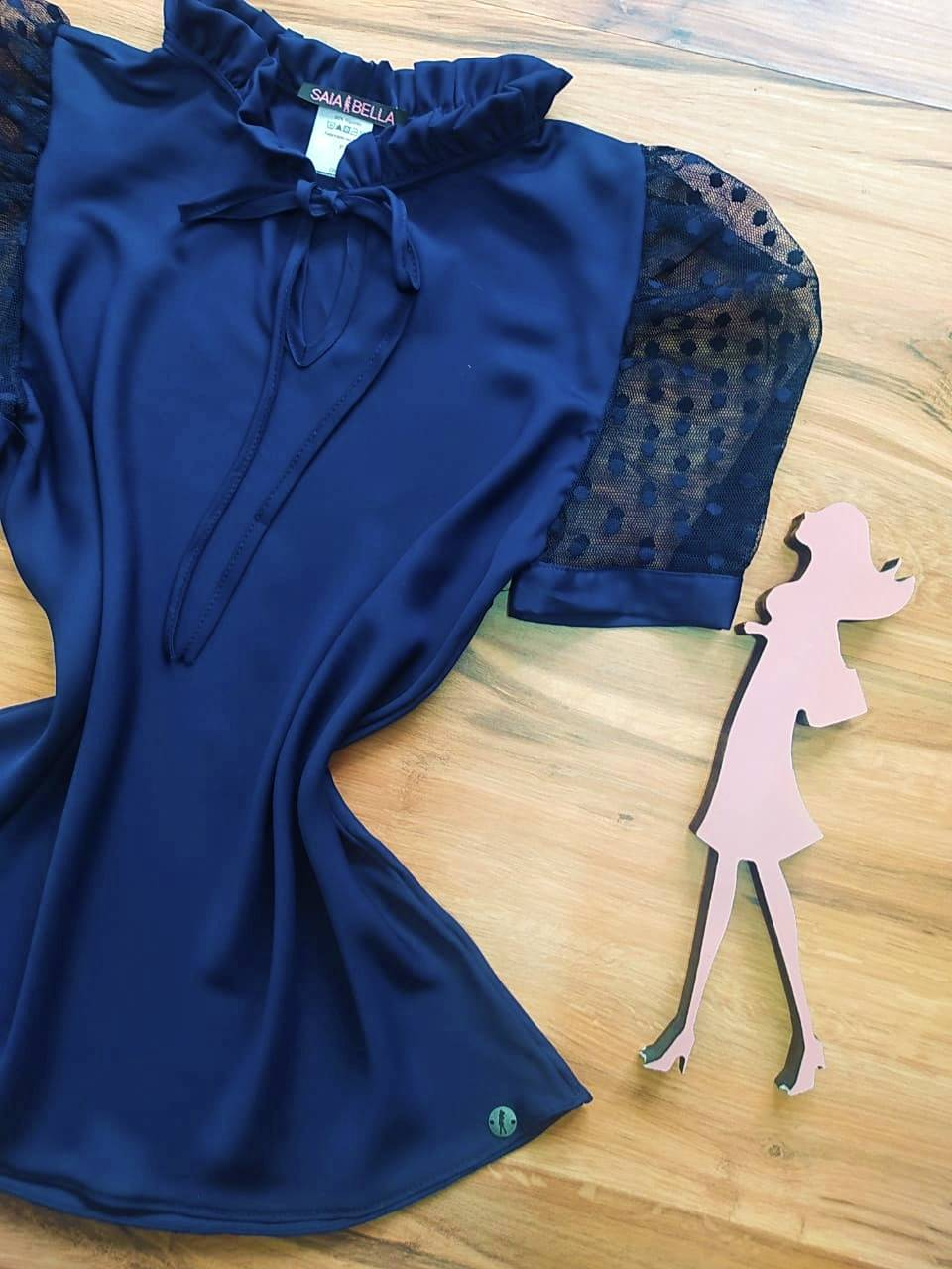 Blusa Michelle Saia Bella - SB700053 Azul Marinho