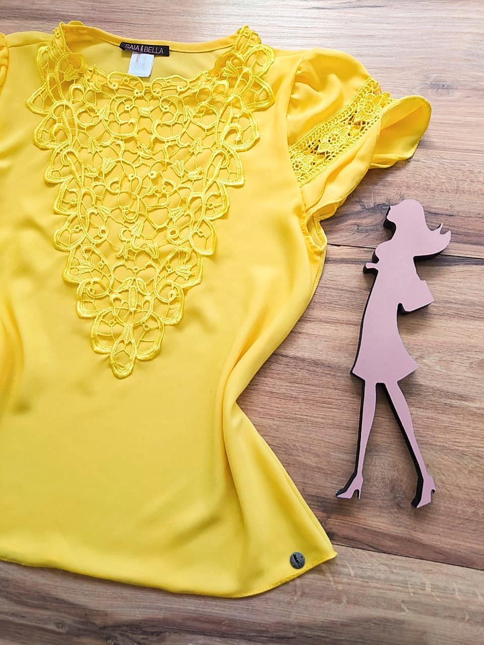 Blusa Mirtes Saia Bella - SB80002 Amarelo