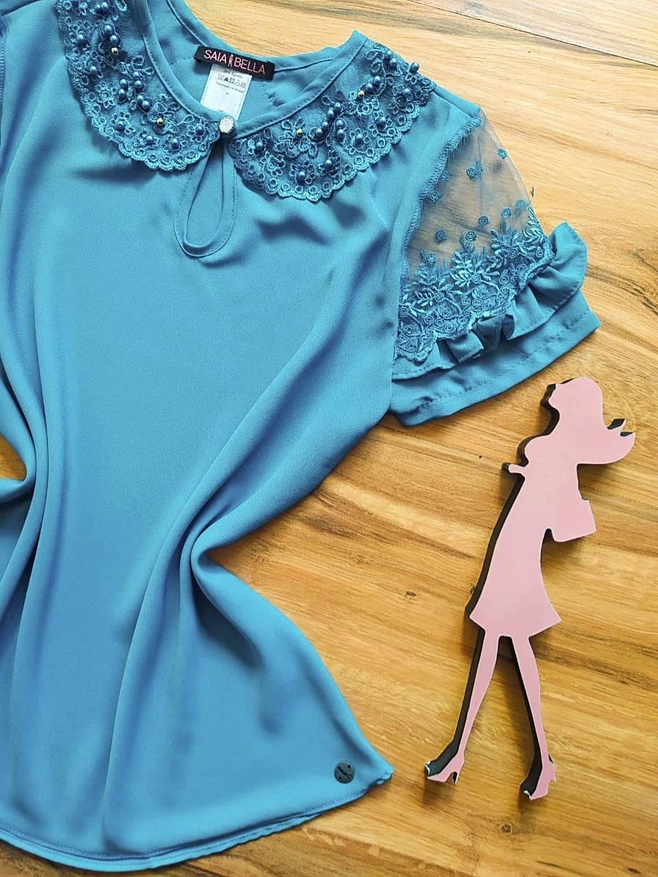 Blusa Nádia Saia Bella - SB700055 - Azul Caribe