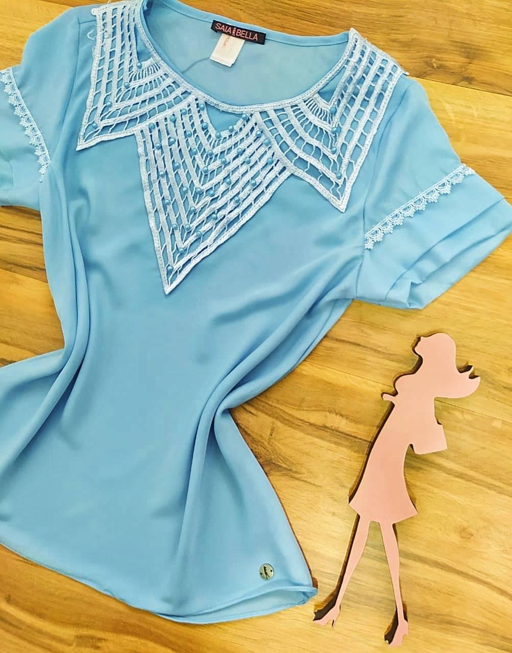Blusa Nataly de Renda Saia Bella - SB774017 - Azul Bebê