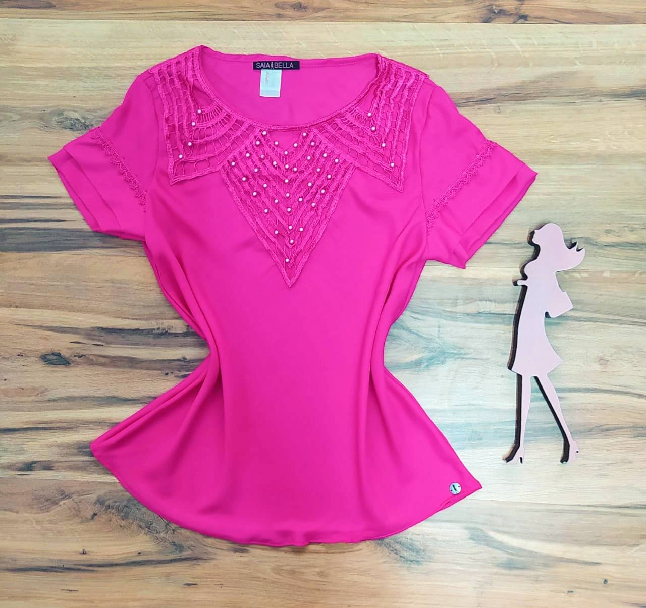 Blusa Nataly de Renda Saia Bella - SB774017 - Pink