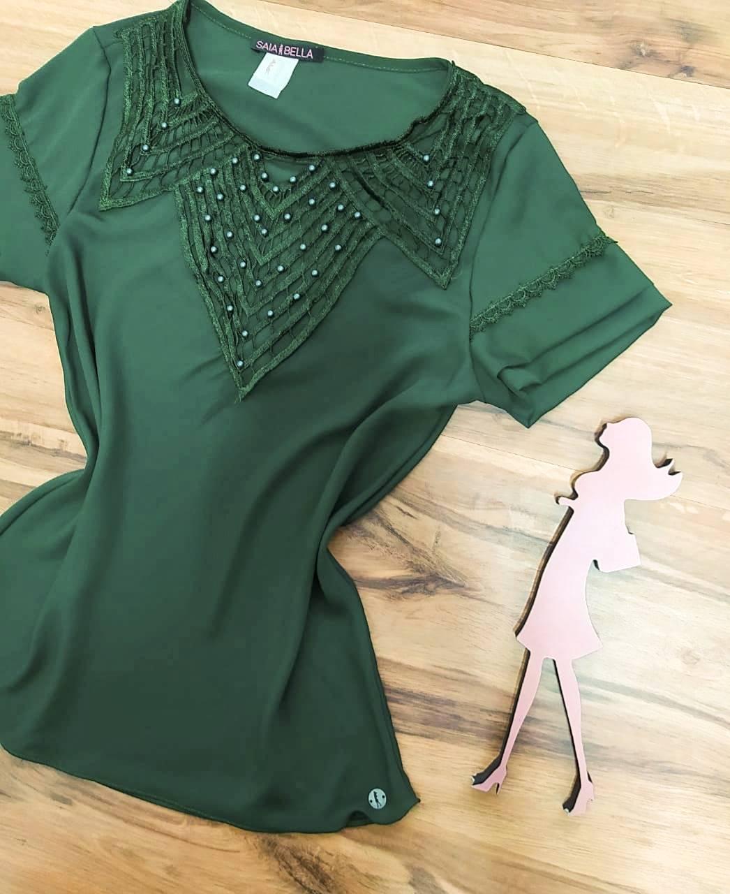 Blusa Nataly de Renda Saia Bella - SB774017 - Verde Militar