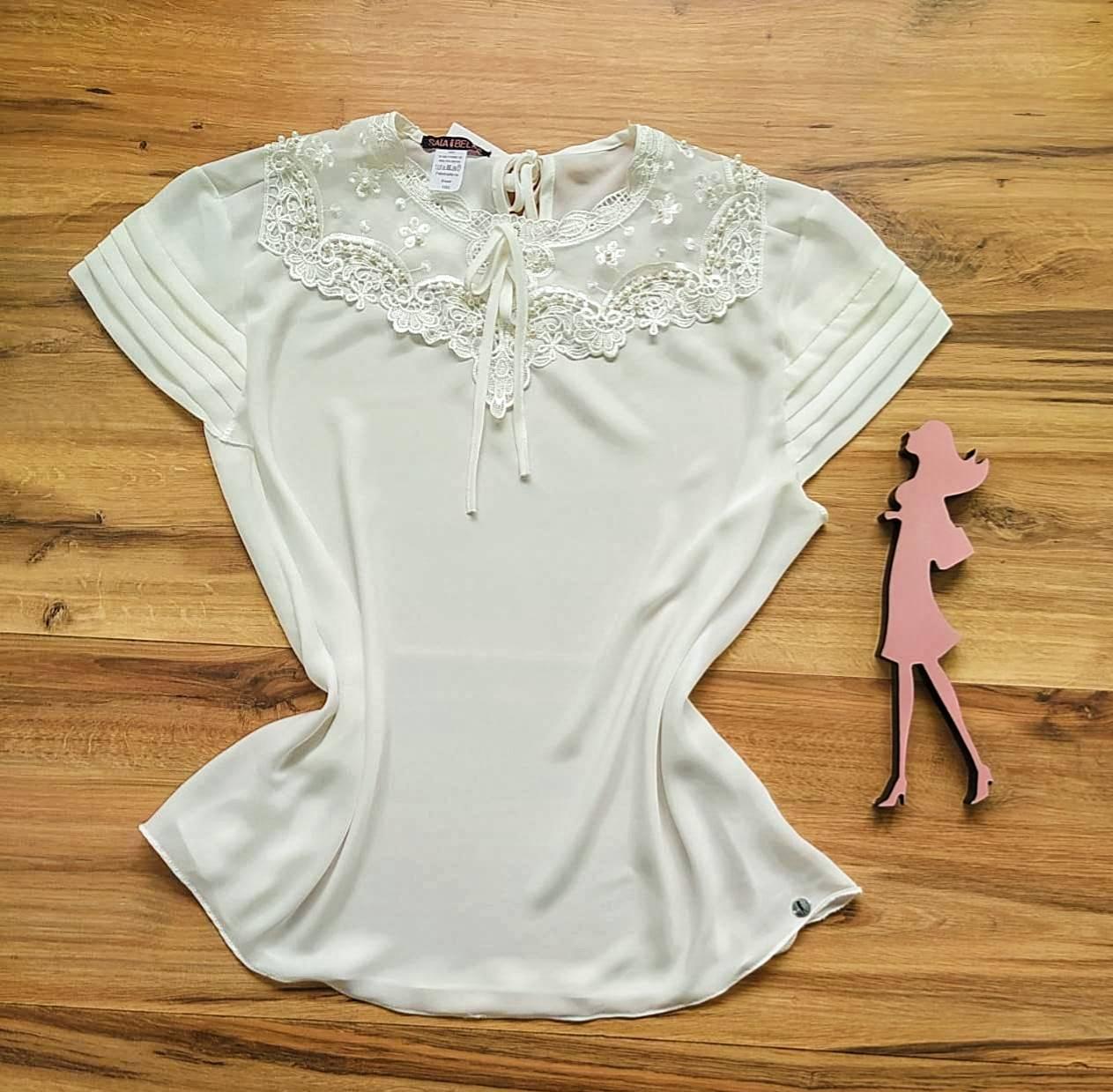 Blusa Nessa de Renda Saia Bella - SB21470 Branco Plus Size