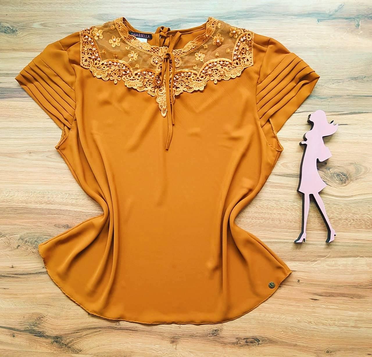 Blusa Nessa de Renda Saia Bella - SB21470 Caramelo Plus Size