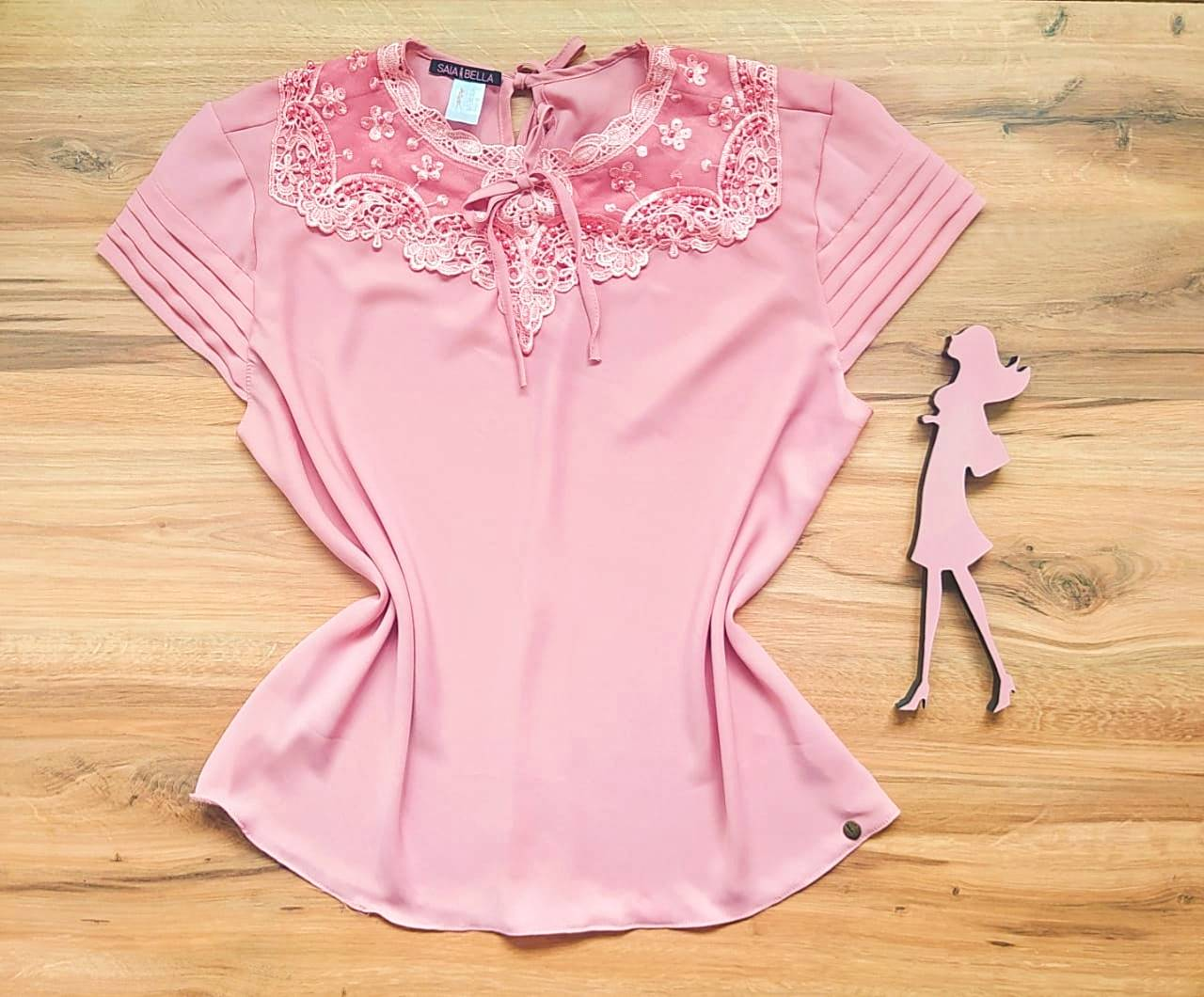 Blusa Nessa de Renda Saia Bella - SB21470 Rosê Plus Size