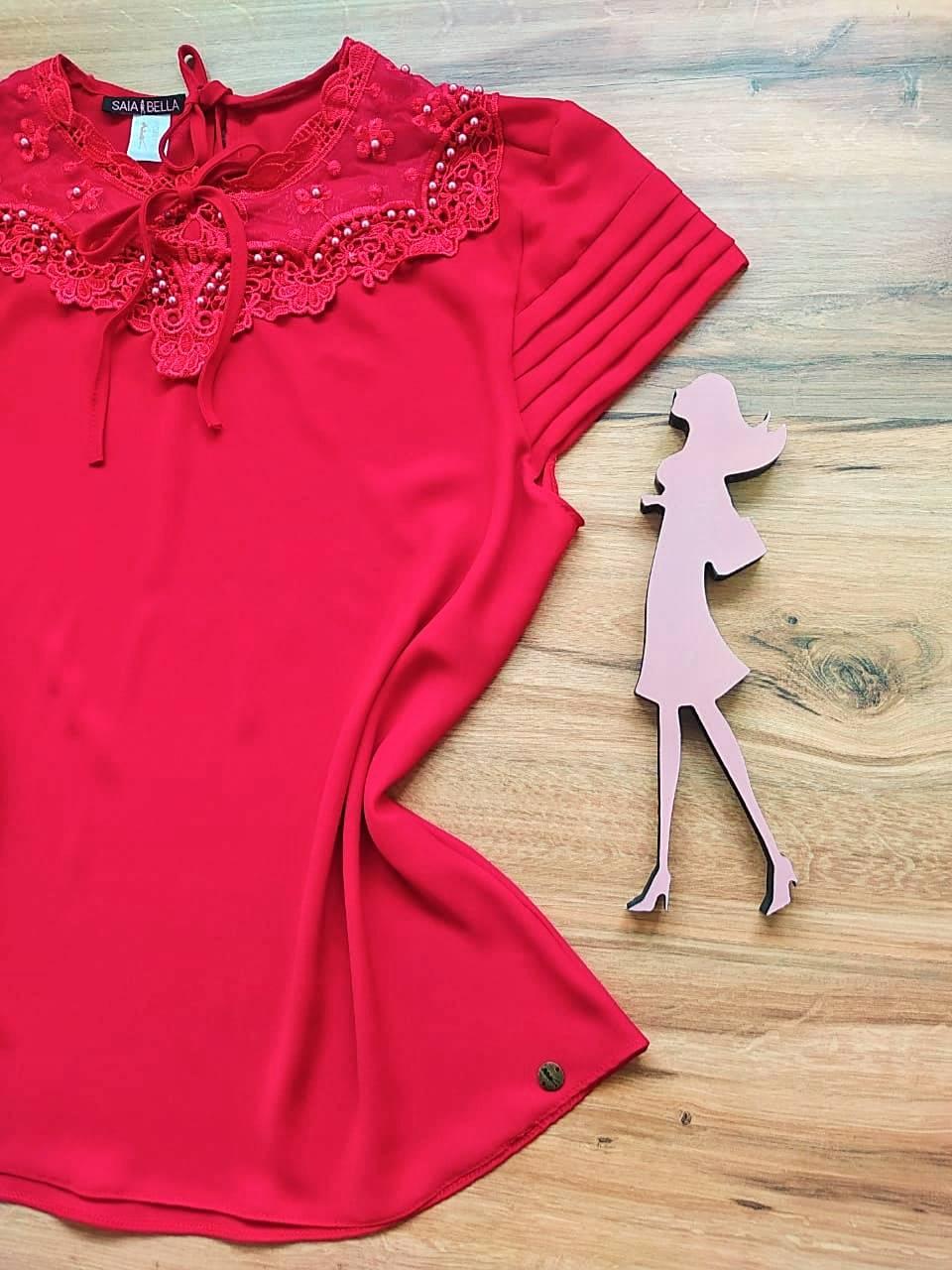 Blusa Nessa de Renda Saia Bella - SB21470 Vermelho Plus Size