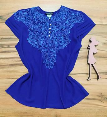 Blusa Paty de Renda Saia Bella - SB7789Y Azul Royal Plus Size