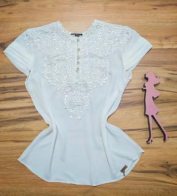 Blusa Paty de Renda Saia Bella - SB7789Y Branco Plus Size