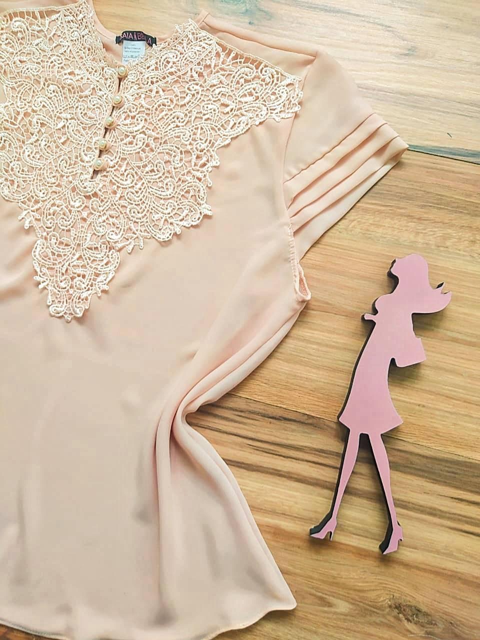 Blusa Paty de Renda Saia Bella - SB7789Y Nude Plus Size