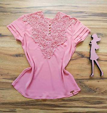 Blusa Paty de Renda Saia Bella - SB7789Y Rosa Plus Size