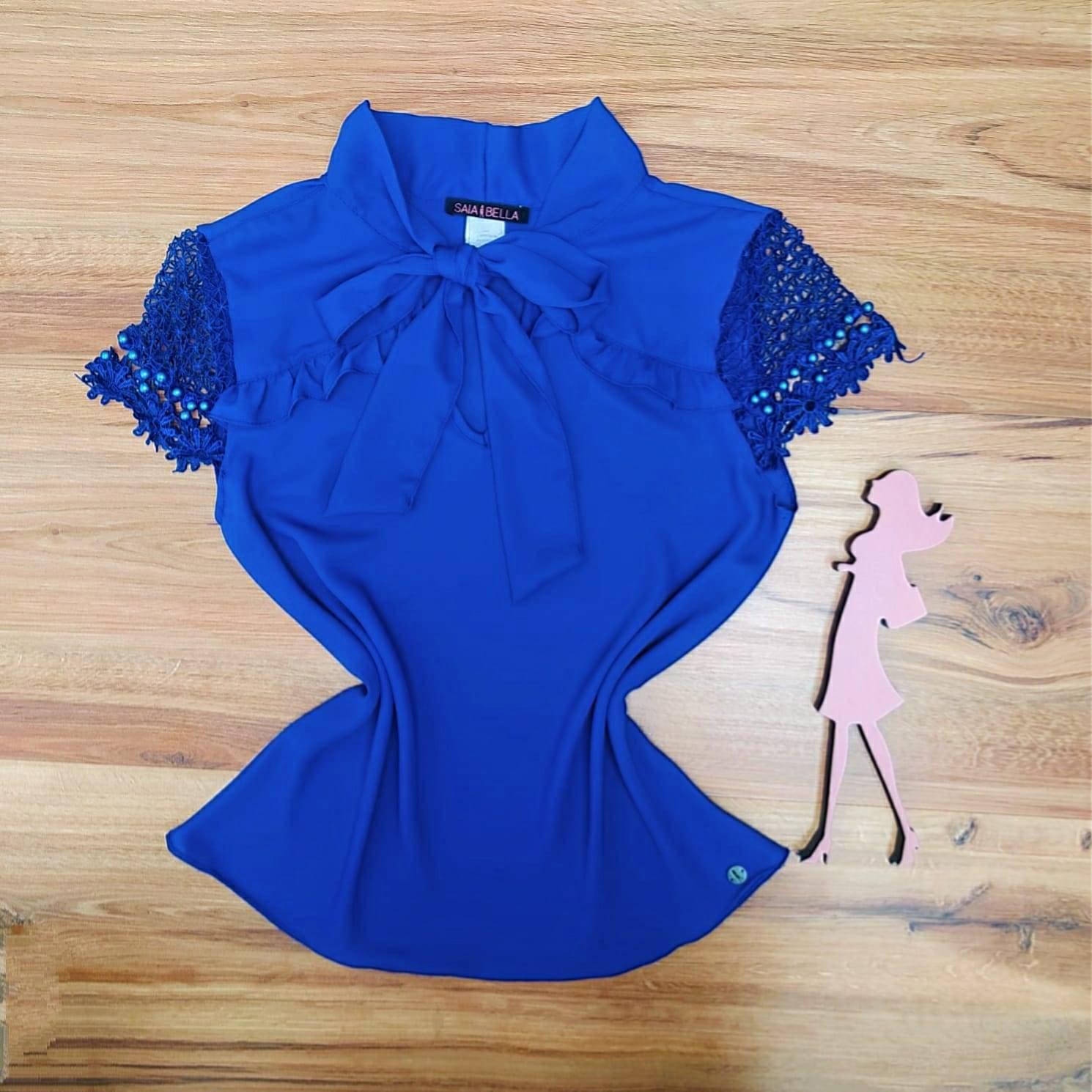 Blusa Romana Saia Bella - SB700071 Azul Royal