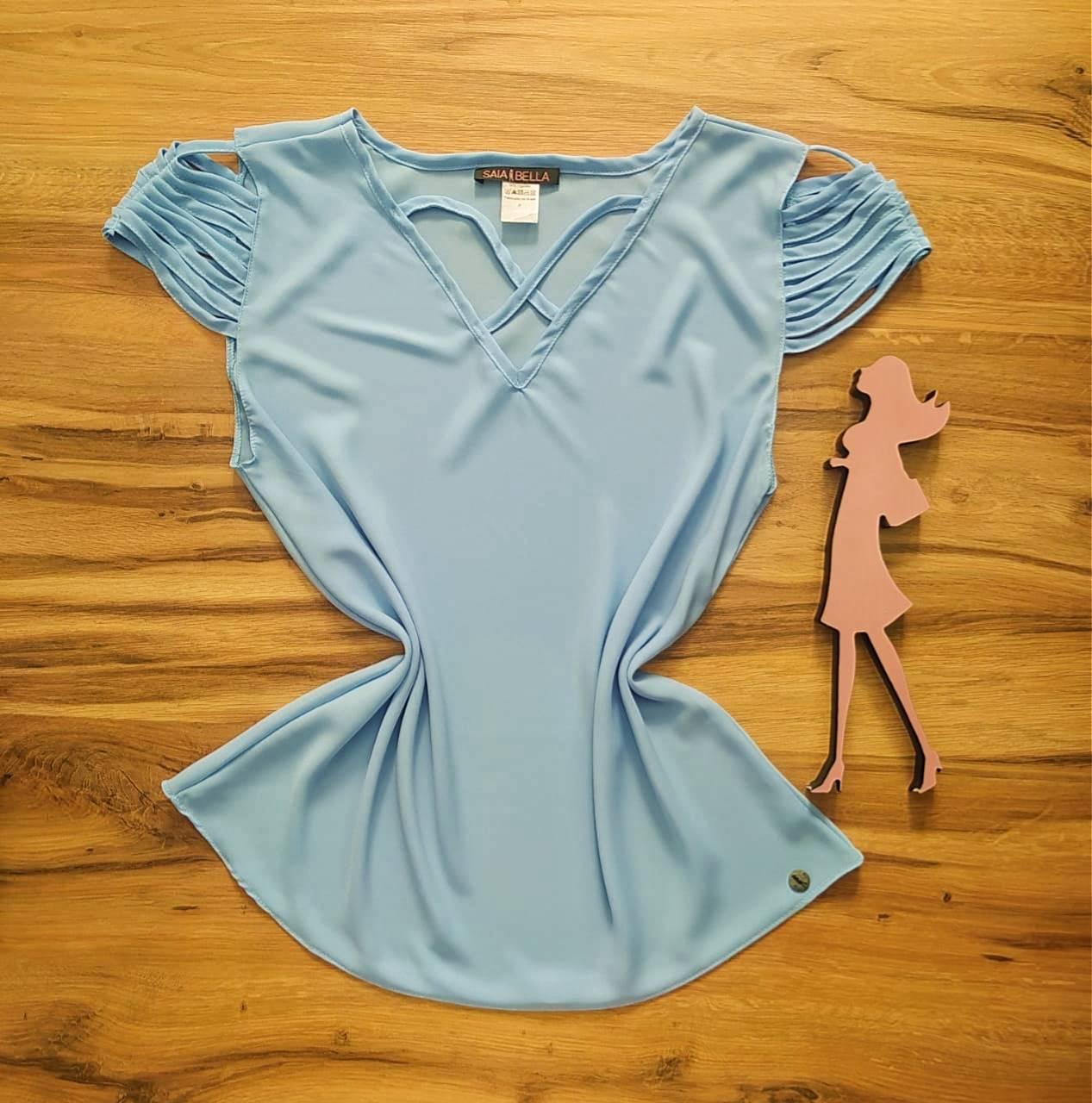 Blusa Sheila Saia Bella - SB8018804. azul bebê