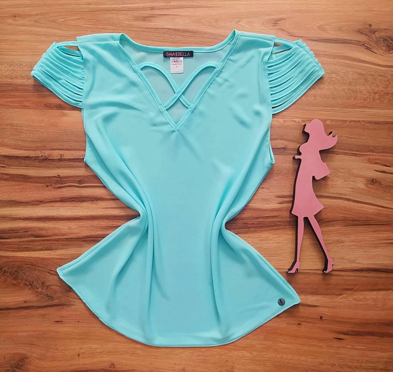 Blusa Sheila Saia Bella - SB8018804. azul céu