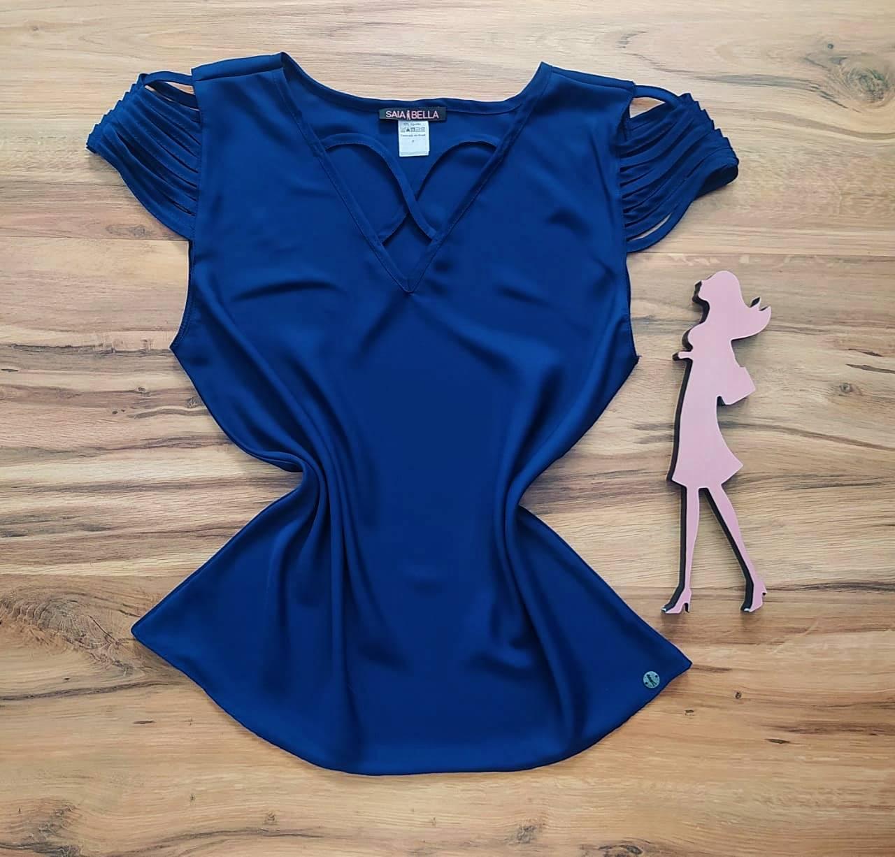 Blusa Sheila Saia Bella - SB8018804. azul marinho