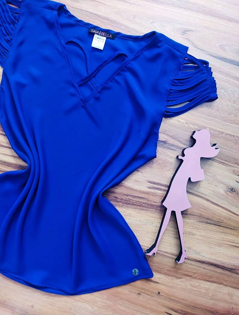 Blusa Sheila Saia Bella - SB8018804. azul royal
