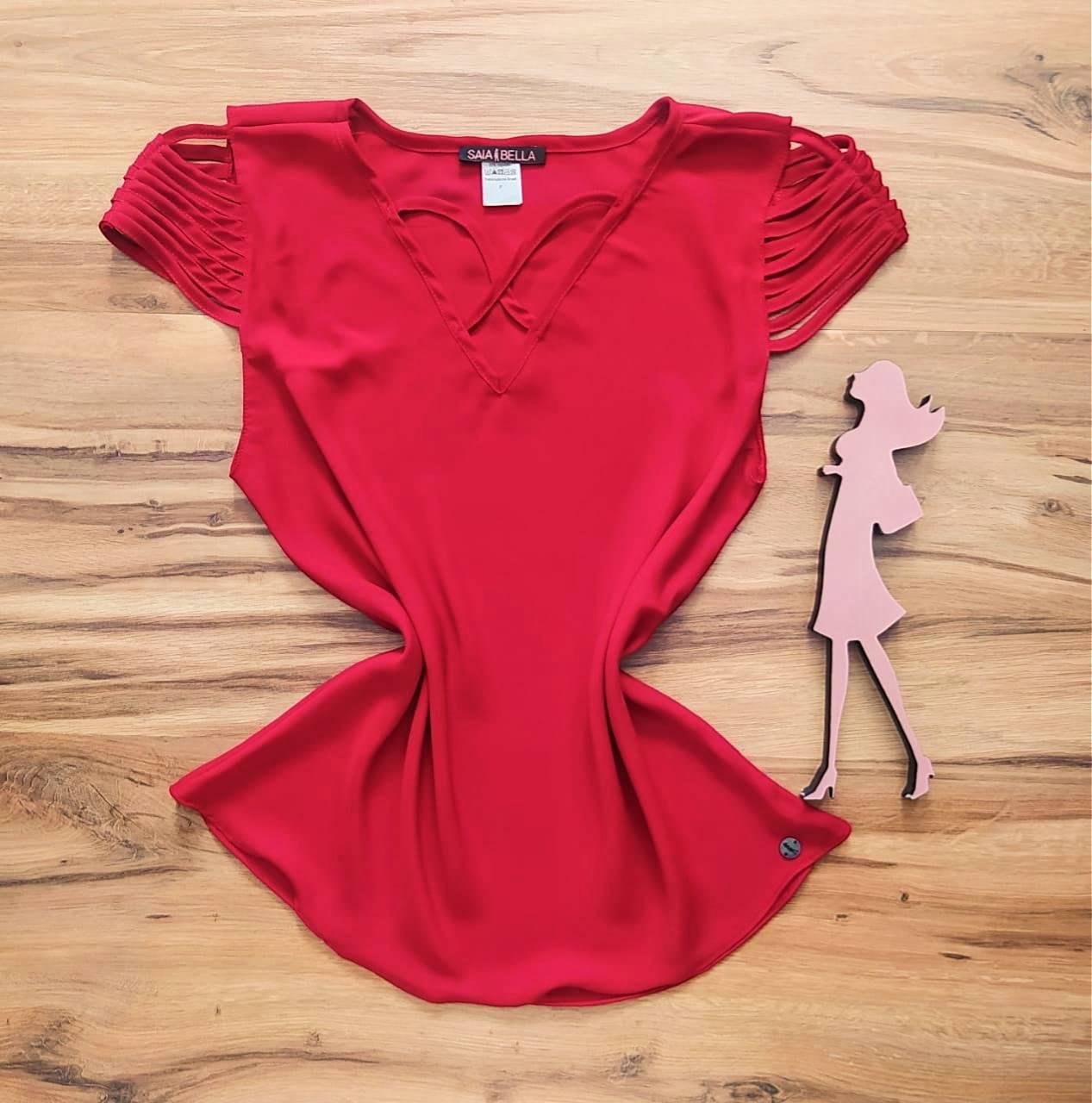 Blusa Sheila Saia Bella - SB8018804. vermelho