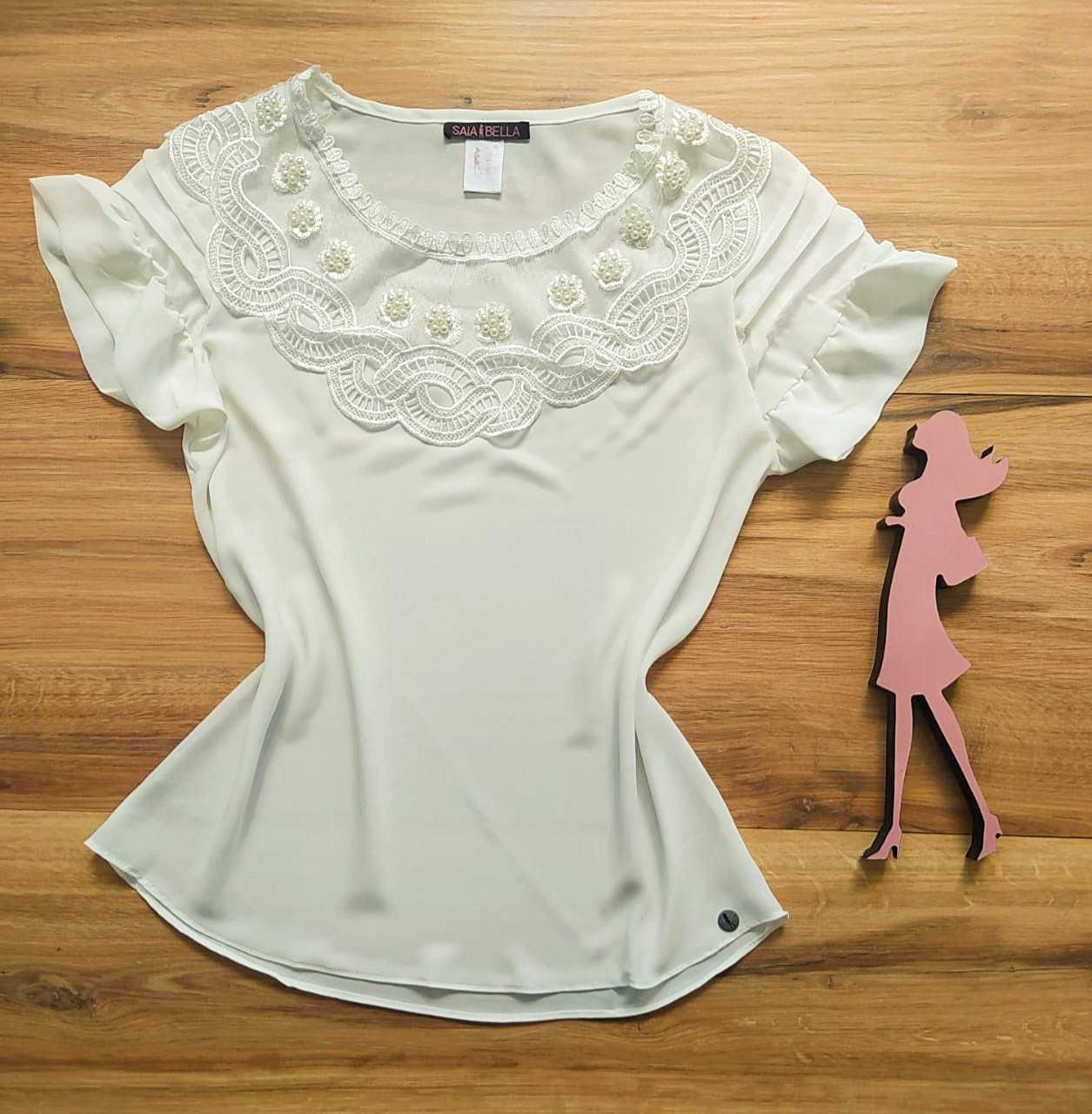 Blusa Shirley Saia Bella - SB80005 Branco