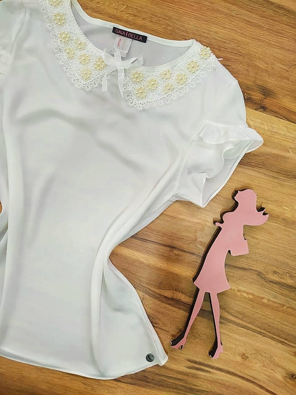 Blusa Solina de Renda Saia Bella - SB774016 - Branco