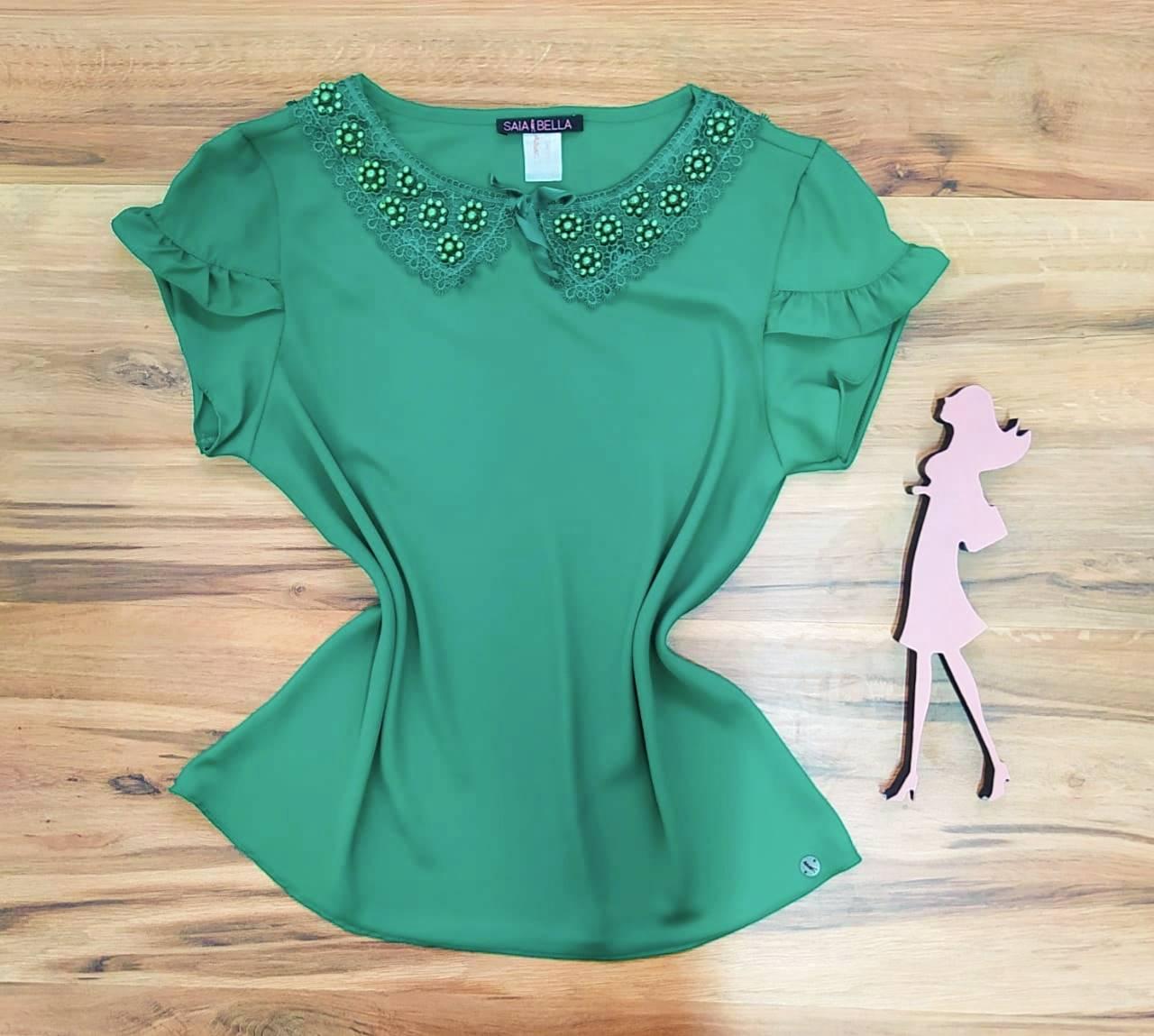 Blusa Solina de Renda Saia Bella - SB774016 - Verde Bandeira