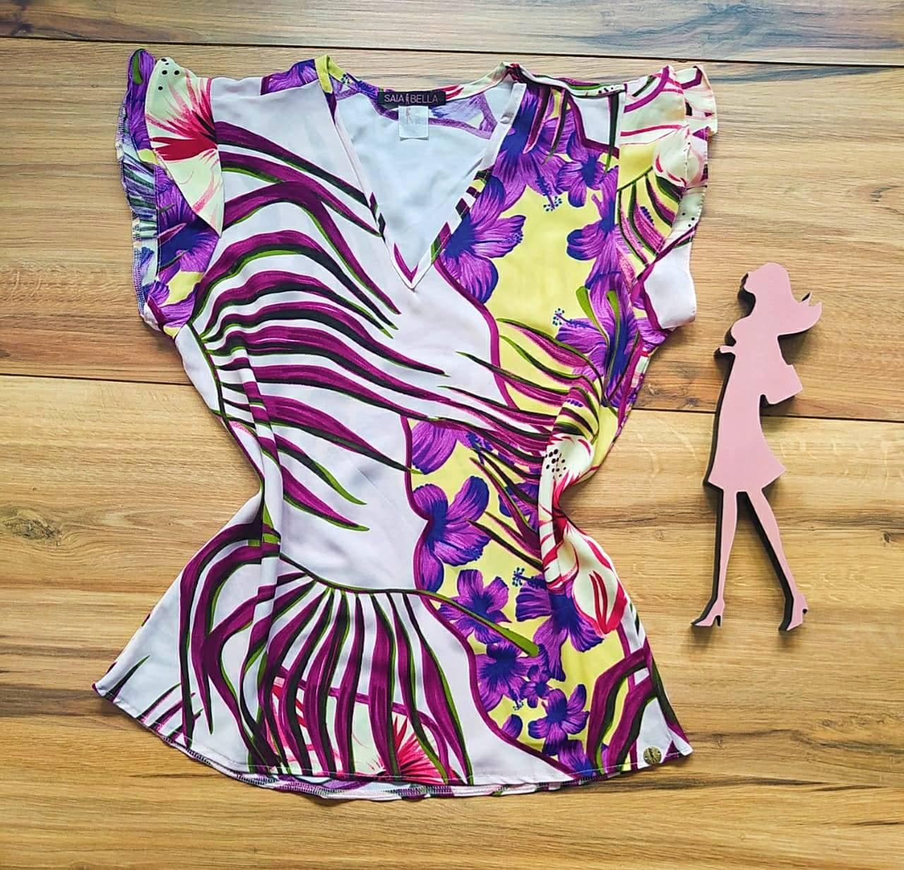 Blusa Sophia Estampada Saia Bella - SB2710 - N