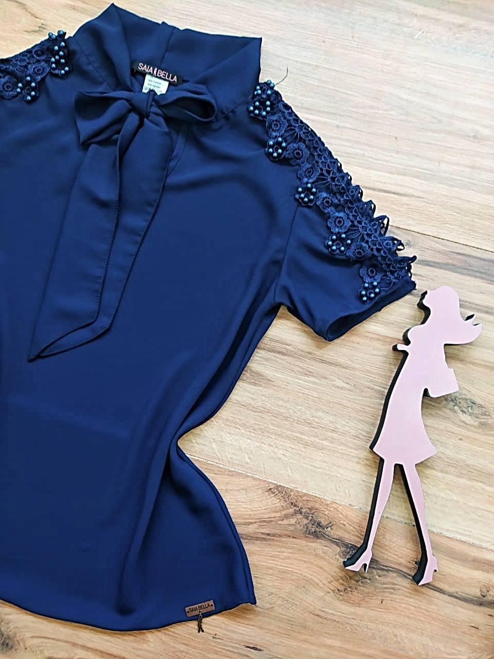 Blusa Stephany Saia Bella - SB9823 Azul Marinho