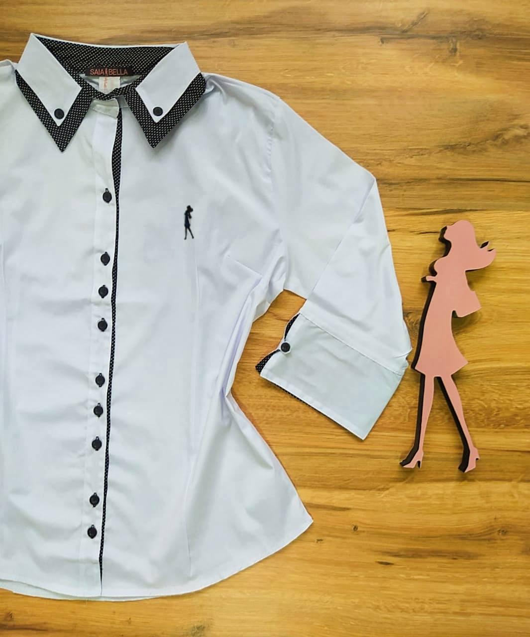 Camisa Carmem Manga 3/4 Saia Bella SB33180 Branco