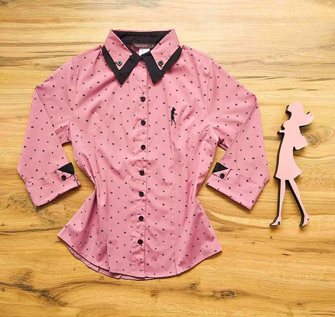 Camisa Carmem Manga 3/4 Saia Bella SB33180 Rosa