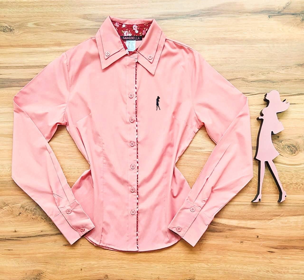 Camisa Carmem Manga Longa Saia Bella SB33180 Rosê