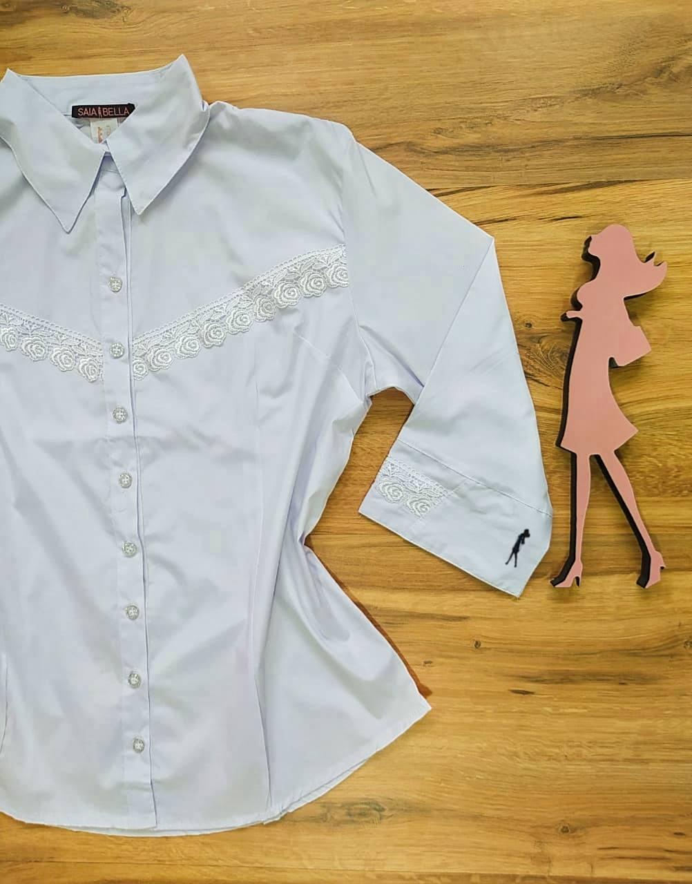Camisa Daiany Manga 3/4 Saia Bella SB33185 Branco