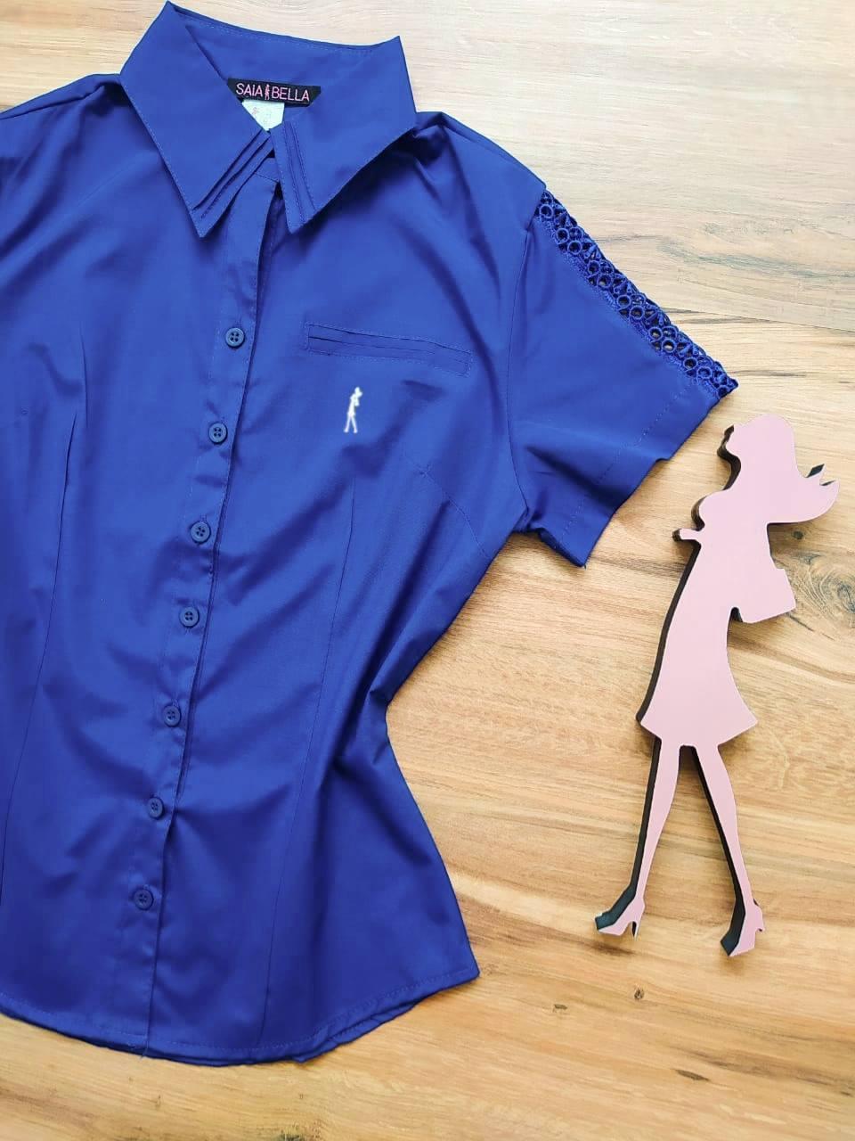 Camisa Marry Manga Curta Saia Bella SB33183 Azul Royal