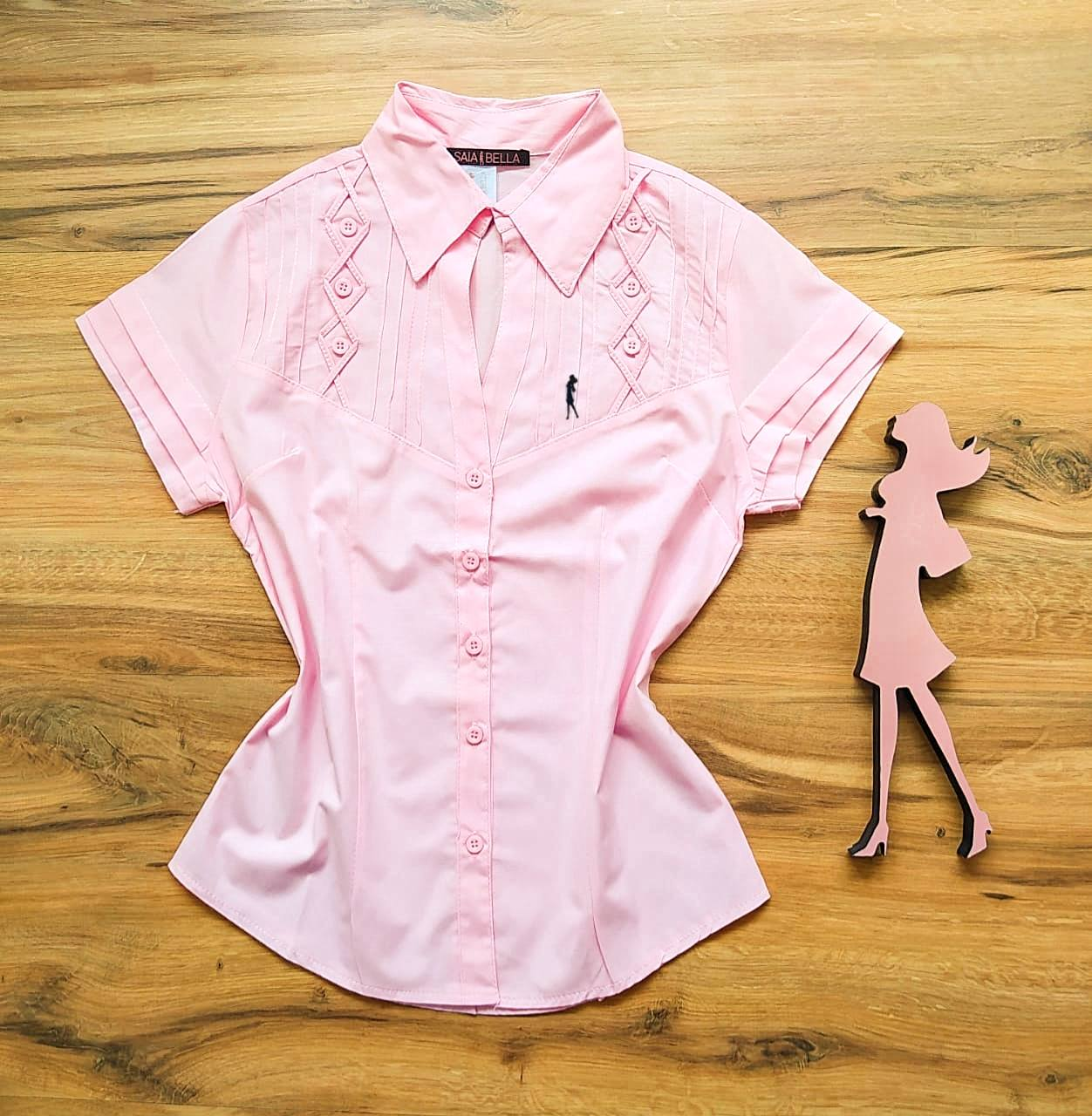 Camisa Ohana Manga Curta Saia Bella SB33181 Rosa