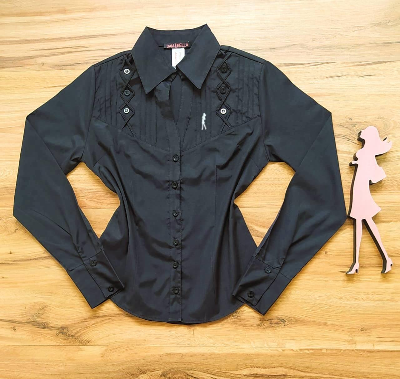 Camisa Ohana Manga Longa Saia Bella SB33181 Preto
