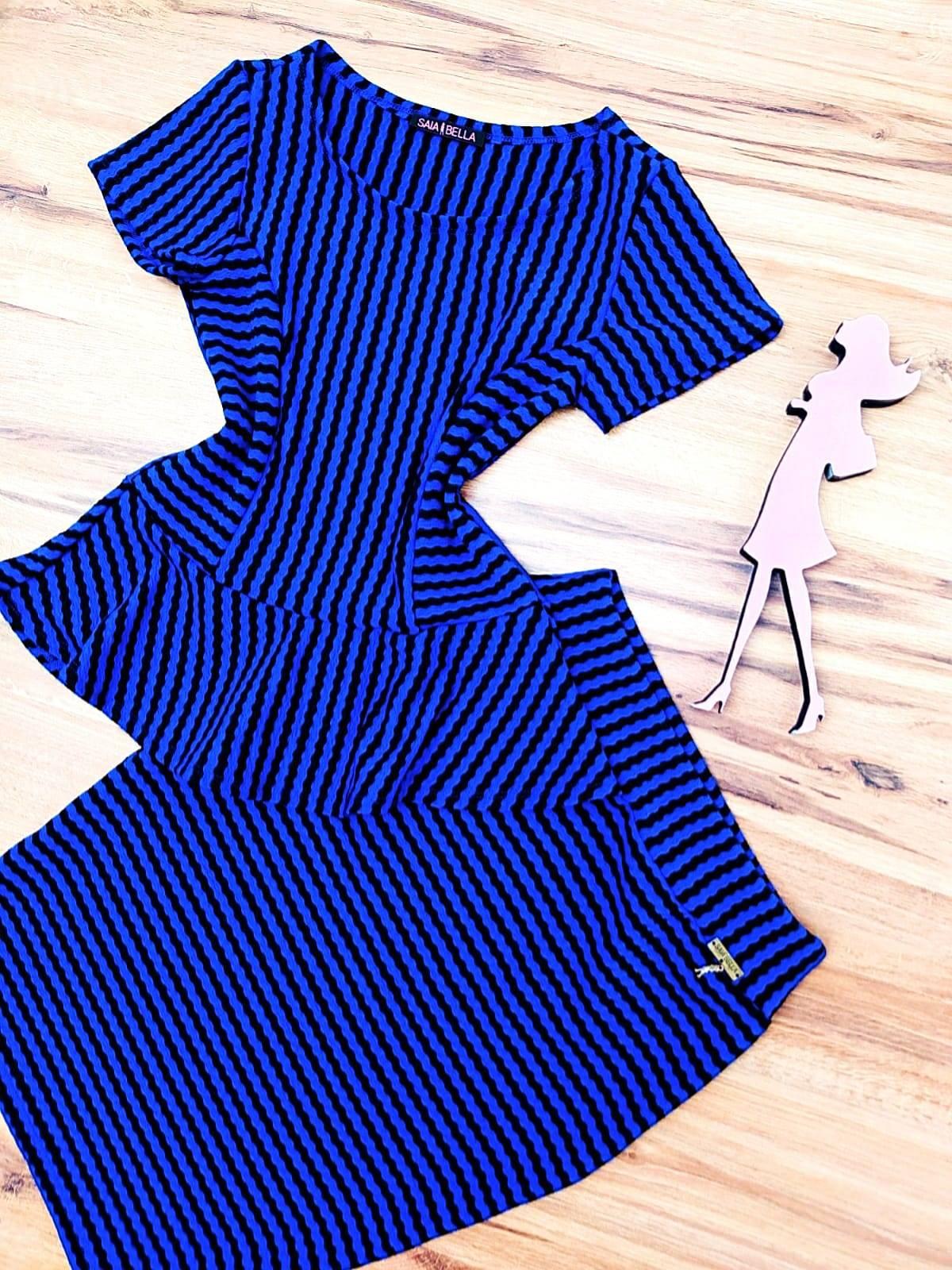 Conjunto Miessa Saia Bella SB80775041 Azul/ Preto
