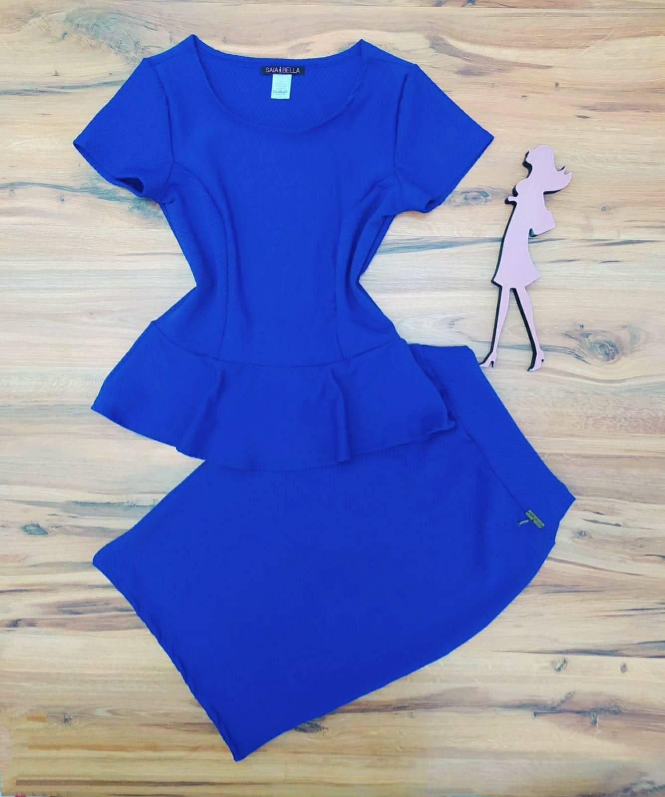 Conjunto Miessa Saia Bella SB80775041 Azul Royal