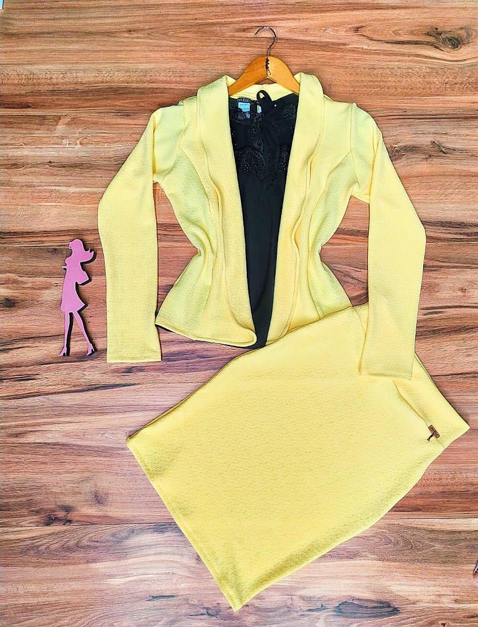 Conjunto Social Madame Saia Bella SB777 Amarelo