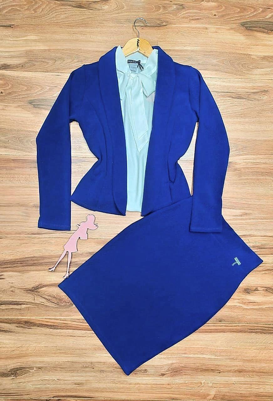 Conjunto Social Madame Saia Bella SB777 Azul Royal