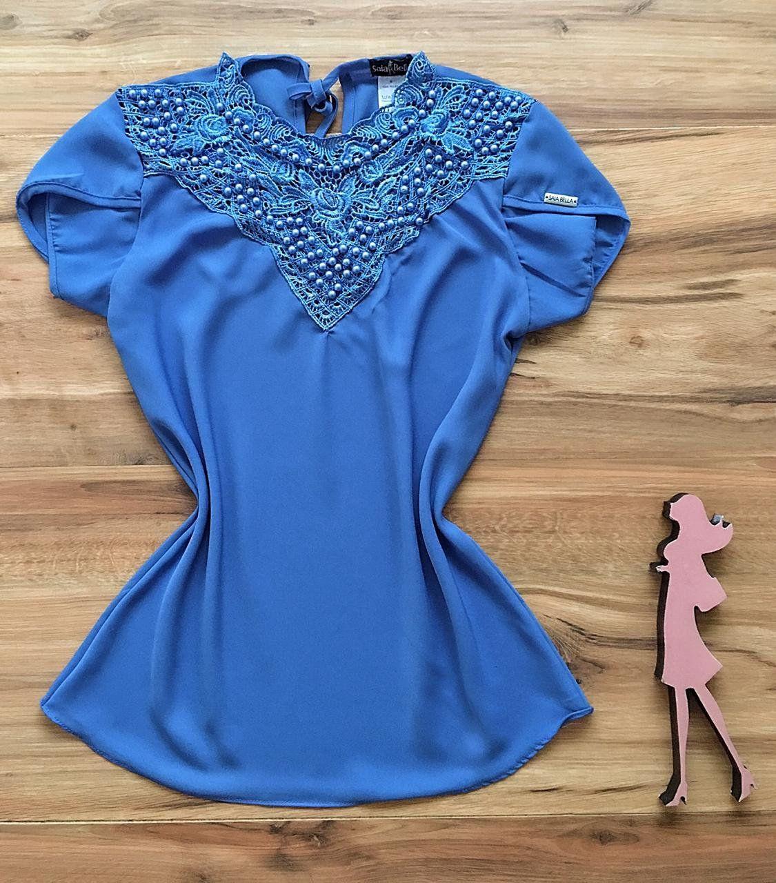 Blusa de Renda Saia Bella - SB9973 azul