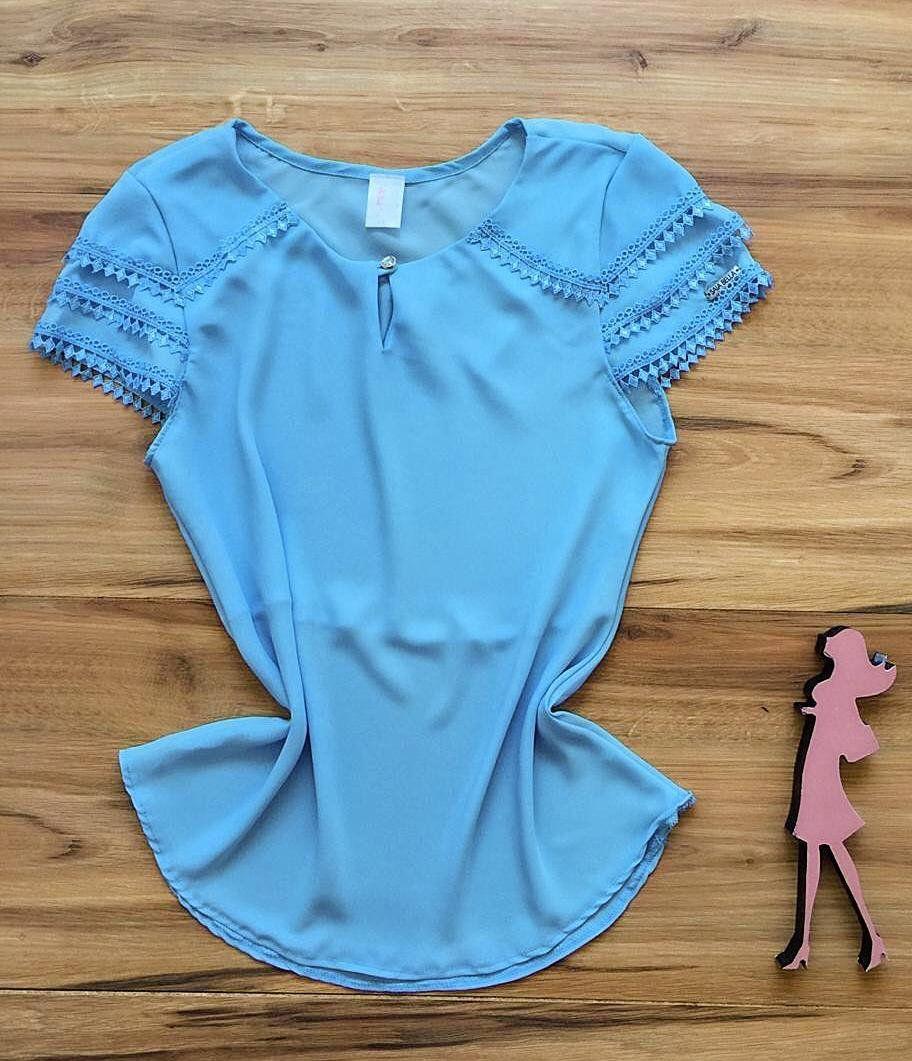 Blusa de Renda Saia Bella - SB9978  azul