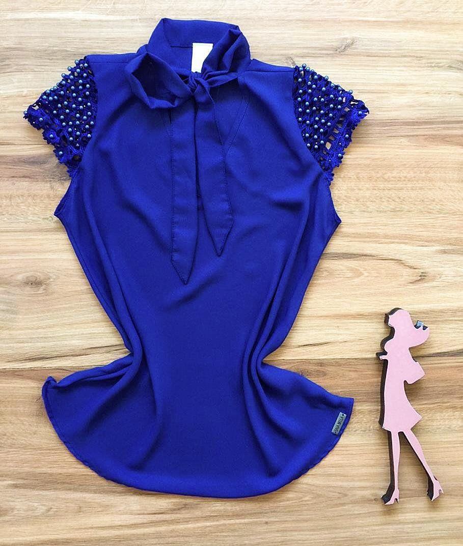 Blusa de Renda Saia Bella - SB9979  Azul Royal
