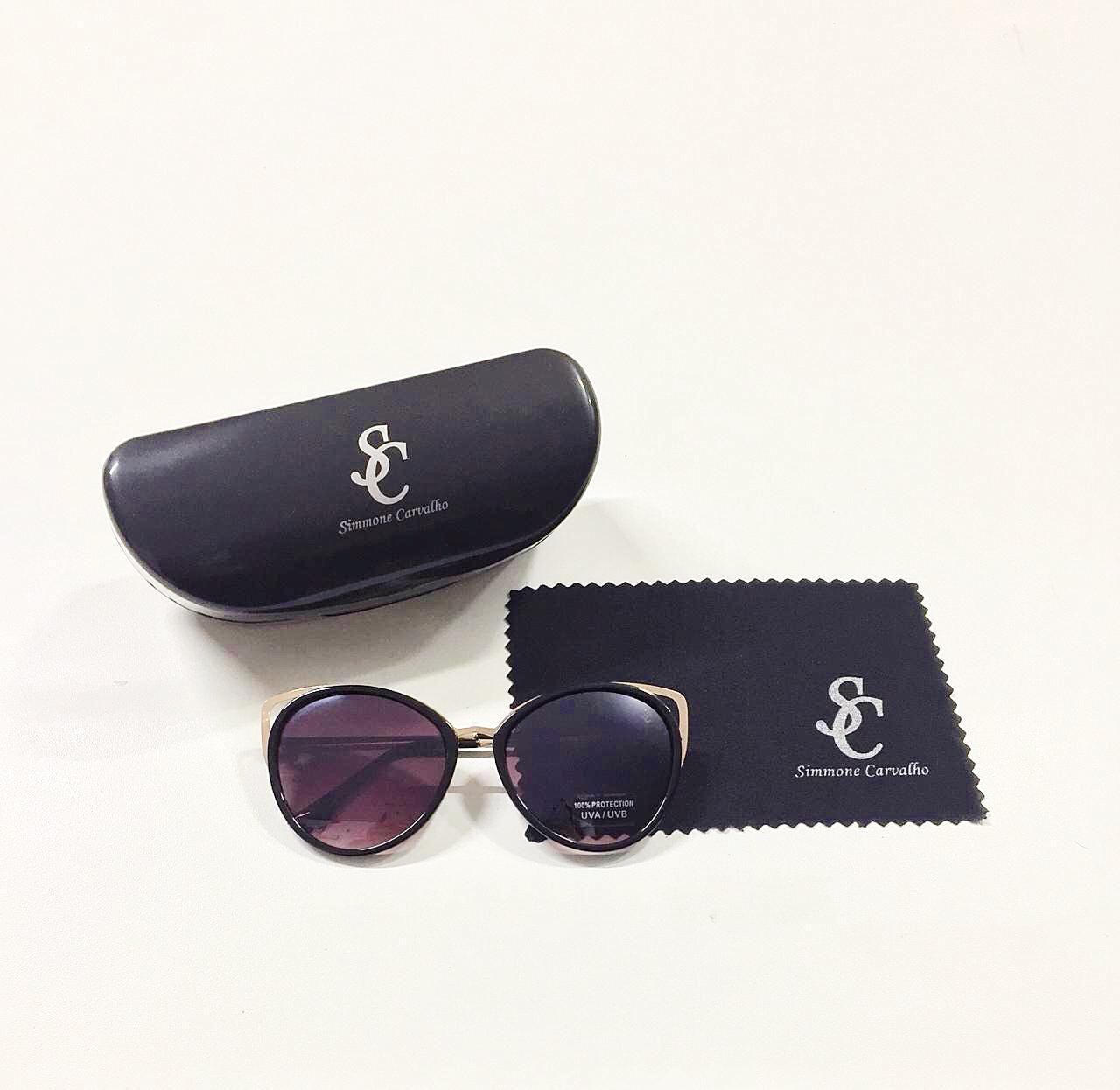 Óculos de Sol Bruna By Simmone Carvalho Preto