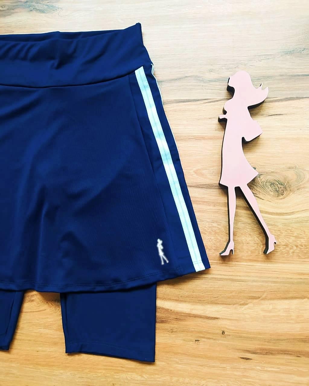 Saia Bermuda Faby - Esporte Fitness Saia Bela - SBF005 - Azul Marinho