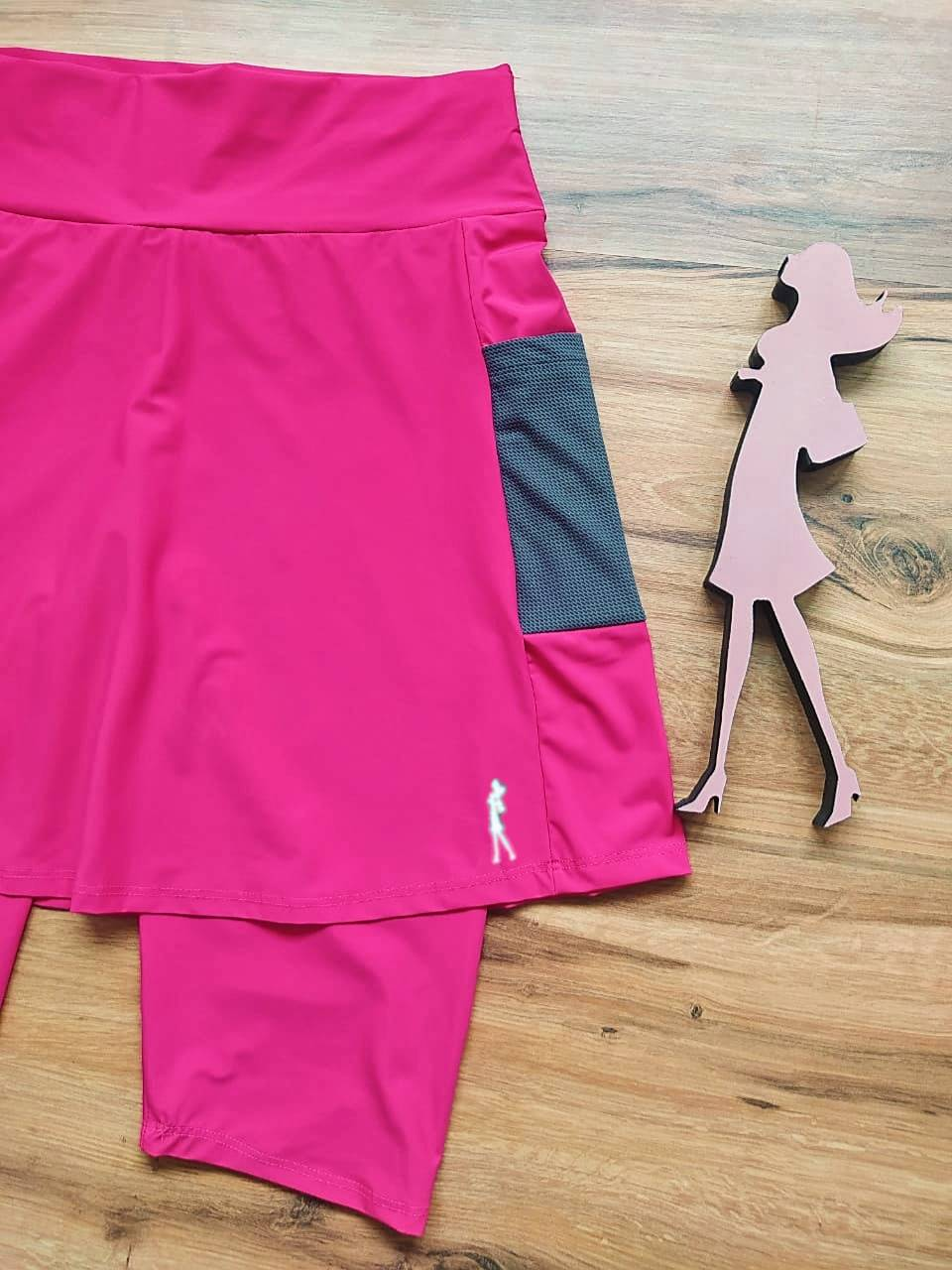 Saia Bermuda Nina - Esporte Fitness Saia Bela - SBF004 - Pink e Cinza